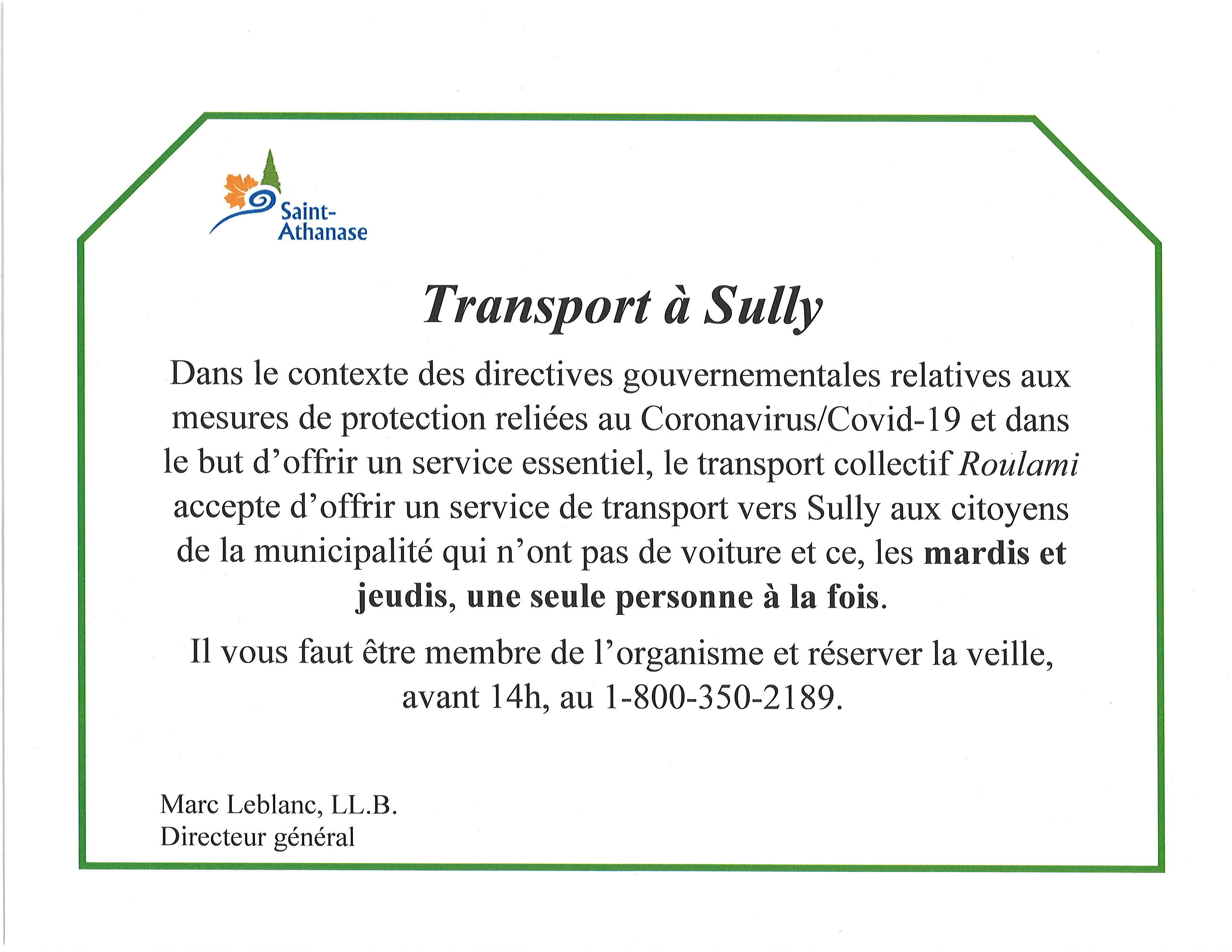 Transport vers Sully